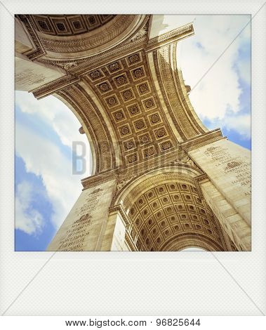 Instant Photo Of  Arch Of Triumph Seen From Inside, In Paris.