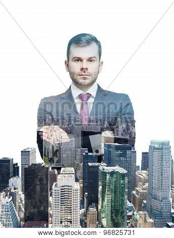 Close Up Of The Transparent Businessman And New York Panoramic View. White Background.