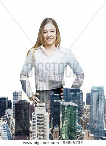 Close Up Of The Transparent Business Woman And New York Panoramic View. Isolated On White Background