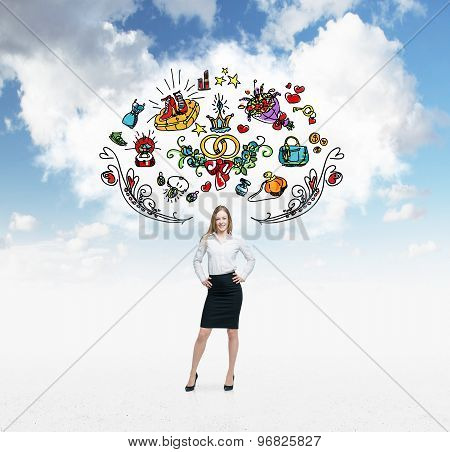 Young Woman Is Dreaming About Sopping. Colourful Shopping Icons Are Flying In The Air. Cloudy Cloud