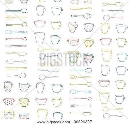 Cups Mugs Silverware Outline Seamless Pattern Background