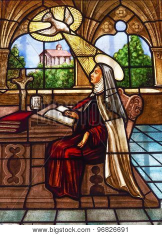 Saint Teresa Writing Stained Glass Convento De Santa Teresa Basilica Avila Castile Spain