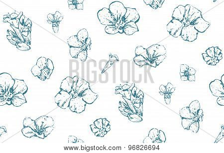 Vintage Wild Flowers Seamless Pattern Scattered