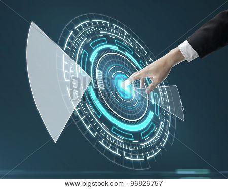 Hand Pushing Circle Interface