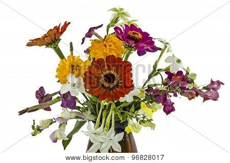 Flowers Bouquet, Isolated On White Background