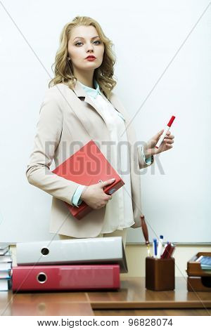 Business Woman Near Office Table