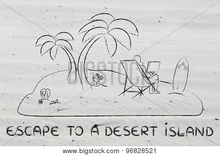 Man Working On His Laptop Remotely Connected From A Desert Island
