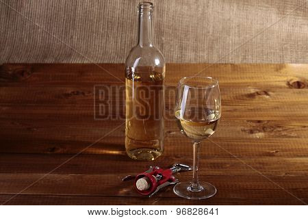 Bottle Glass And Corkscrew