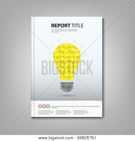 Brochures Book Or Flyer With Colored Puzzle Bulb Template