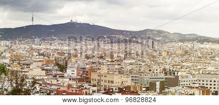 Panoarama Of Barcelona With Mountains In Summer