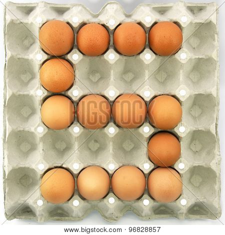 Number Five Of Eggs In The Paper Package Tray