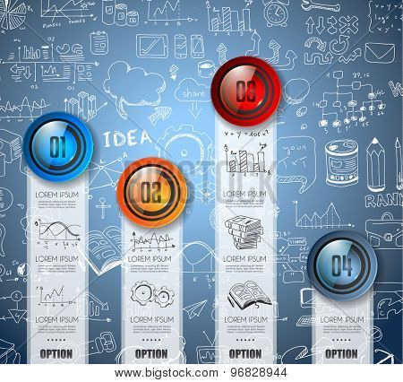Infographic Abstract template with multiple choices glass buttons with shiny effect. Ideal for marketing and printed material, product classifications, ranking, business solutions