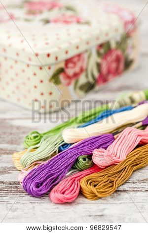 Multicolor Threads For Embroidery And Knitting Box