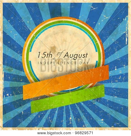 Vintage sticky design with blank ribbons on grungy blue rays background for Indian Independence Day celebration.