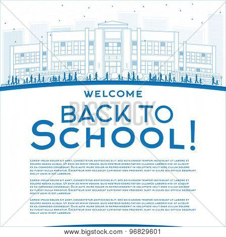 Outline Back to School Concept with copy space for text. Vector illustration