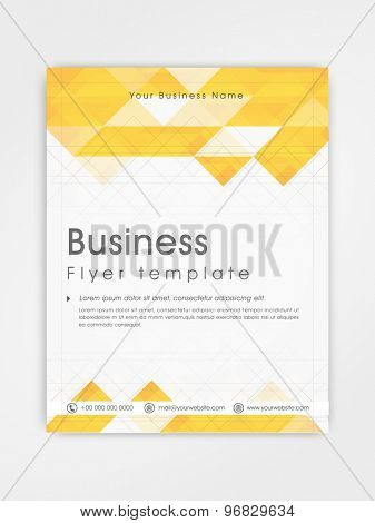 Professional business flyer, template or brochure design in white and yellow color.
