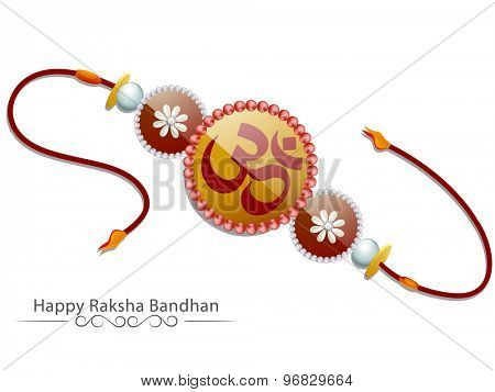 Beautiful creative rakhi on shiny white background for Indian festival, Raksha Bandhan celebration.