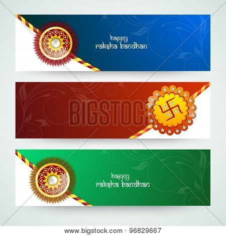 Floral design decorated beautiful website header or banner set with creative rakhi for Indian festival, Raksha Bandhan celebration.