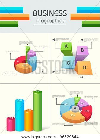 Set of four colorful Business Infographics including 3D pie charts and bars with numbers and percentages.