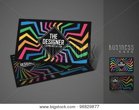 Creative colorful business or visiting card design for your company on grey background.
