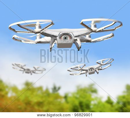 Eye on the sky. Drone is new tool for aerial photo and video. Digital artwork fictional vehicles on UAV theme.
