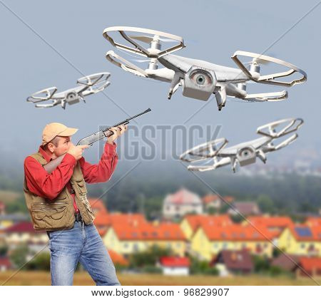 Man with shotgun shooting down drone flying over his home. Drone and privacy theme. Digital artwork with fictional vehicle.