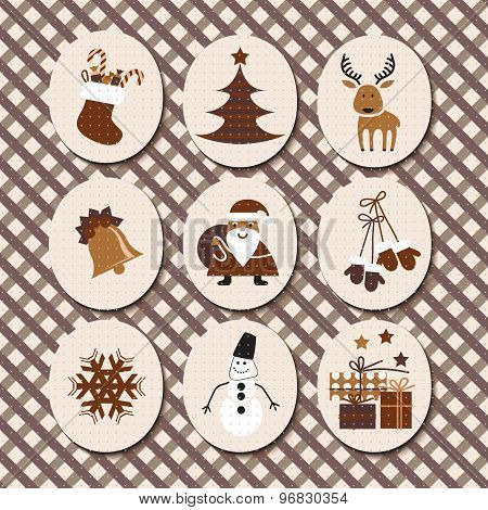Christmas Set Santa Claus, Reindeer, Stockings, Gifts, Candles, Christmas Tree, Snowman,snowflake