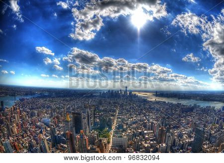 New York City - the skyscrapers and the skyline of Manhattan under the sun in high dynamic range (HD