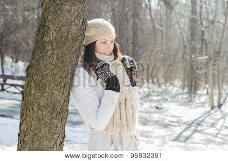 Smiling Lovely Young Woman Winter Portrait