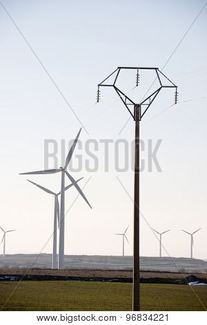 Windmills for electric power production and pylon, La Muela, Zaragoza Province, Aragon, Spain.
