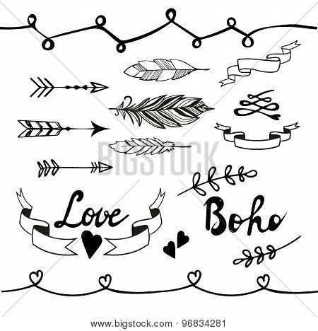 Collection of boho doodle design elements. Vector illustration.