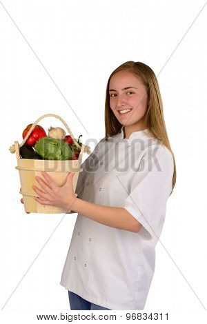 Woman Chef with vegetables