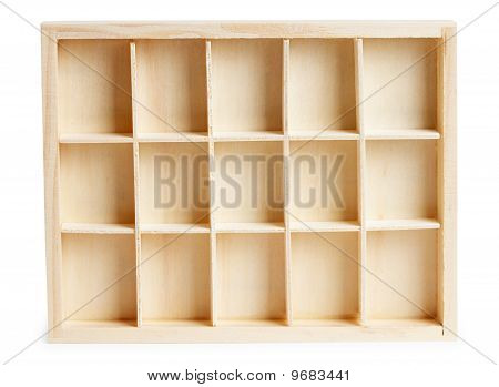Small Wooden Box With Cells