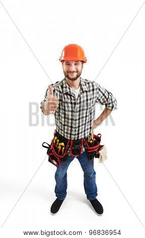 view from above of smiley builder in hard hat and belt with tools showing thumbs up. isolated on white background