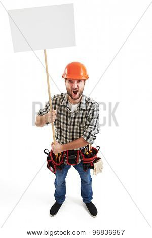view from above of displeasure screaming handyman with empty white placards for your text. isolated on white background