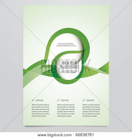 Vector business brochure, flyer template. Modern green corporate design.