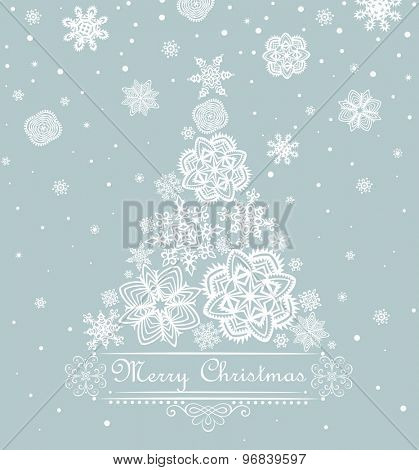 Xmas greeting with paper snowflakes design