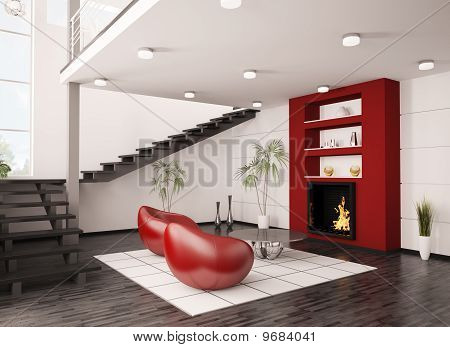 Modern Interior With Fireplace And Staircase 3D Render