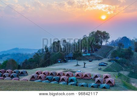 Sunset At Camping Area Of Doi Samer Dao
