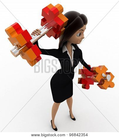 3D Woman Doing Exercise With Dumbells Concept