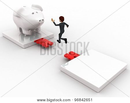 3D Man Jumping And Crossing Gap To Reach To Big Piggybank Concept