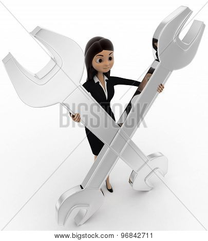 3D Women Presenting Spanner Concept