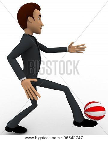 3D Man Kicking Ball Concept