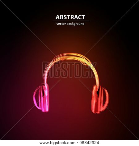 Neon Headphones grunge music easy editable