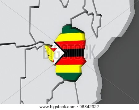 Map of worlds. Zimbabwe. 3d