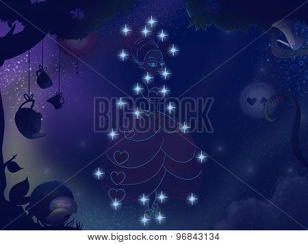 Kids Book Illustration. Pretty Girl Constellation.