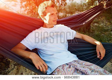 man on a hammock