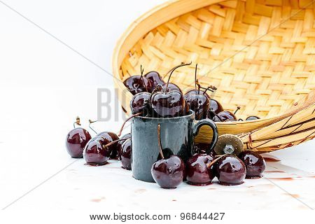Frozen Cherry Berries On The Table