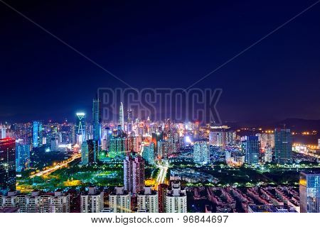 High angle view of modern skyline and cityscape at night