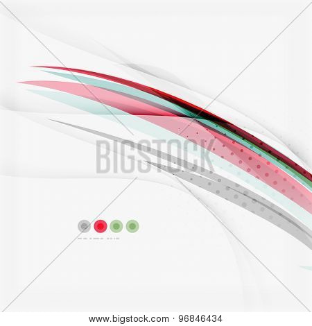 Red and blue wave lines, abstract background, business corporate template